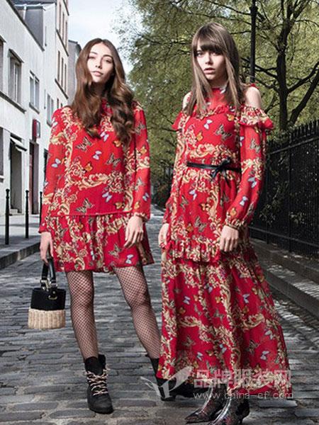 EVONA女装品牌收腰显瘦加厚碎花裙长裙