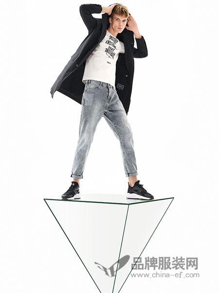 MOZI男装品牌2018春季新款牛仔裤修身小脚裤韩版潮流休闲九分长裤