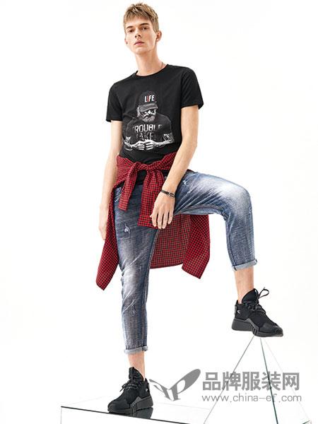 MOZI男装品牌2018春季新款圆领修身T恤打底时尚潮男短袖人物印花半袖