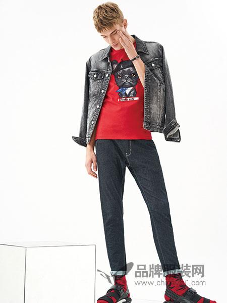 MOZI男装品牌2018春季新款韩版潮流修身帅气学生牛仔夹克衣