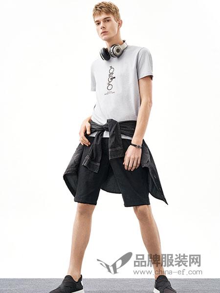 MOZI男装品牌2018春季新款韩版圆领字母印花休闲薄款短袖T恤