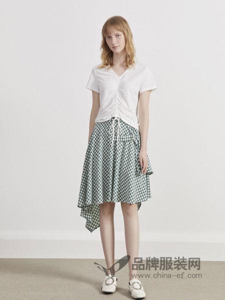 英吉兰依女装品牌2019春夏韩版高腰格子不对称半身裙时尚洋气中长款