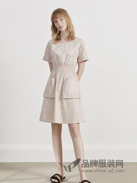 英吉兰依女装品牌2019春夏两穿中长裙棉麻短袖连衣裙