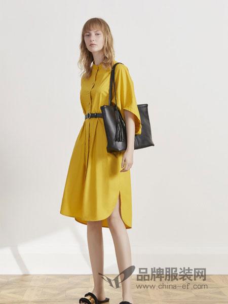 英吉兰依女装品牌2019春夏尚中袖衬衣领腰带显瘦中长款收腰连衣裙