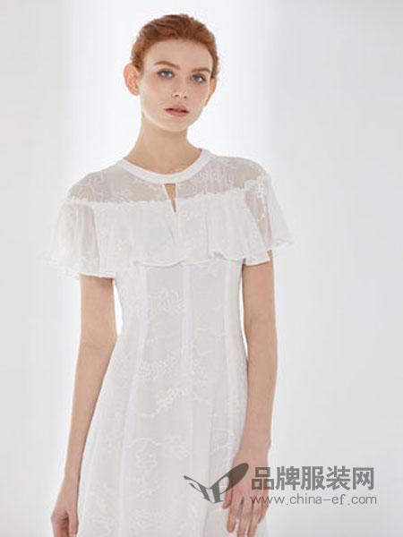 D'modes黛玛诗女装品牌2019春夏新款白色刺绣长款修身连衣裙女收腰荷叶裙
