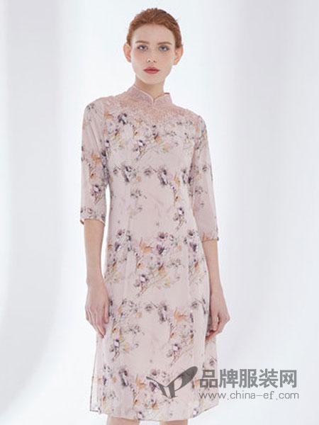 D'modes黛玛诗女装品牌2019春夏新款印花旗袍礼服连衣裙