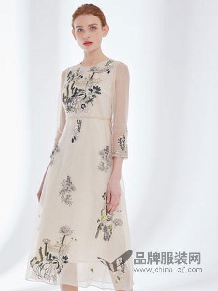 D'modes黛玛诗女装品牌2019春夏新款网纱绣花连衣裙长款礼服裙