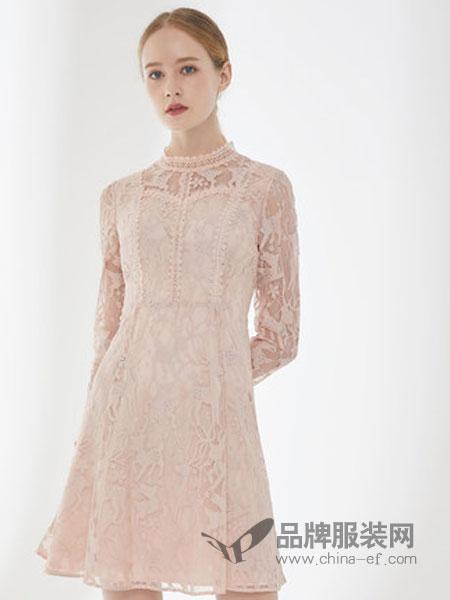 D'modes黛玛诗女装品牌2019春夏新款粉色蕾丝修身长袖连衣裙