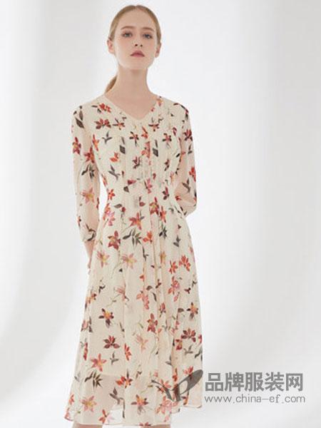 D'modes黛玛诗女装品牌2019春夏新款印花长款过膝连衣裙