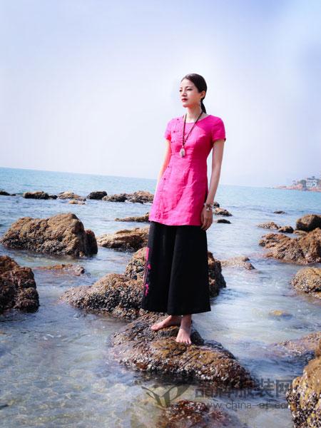 曼茜纱女装品牌2019春夏刺绣修身显瘦短袖亚麻连衣裙棉麻中裙