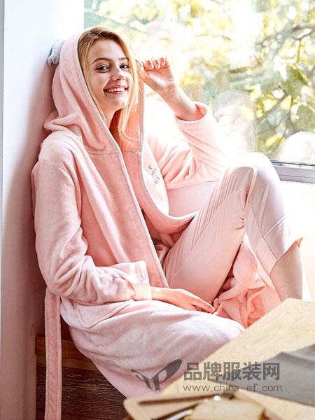 红豆居家内衣品牌开衫睡衣长袖法兰绒甜美家居服套