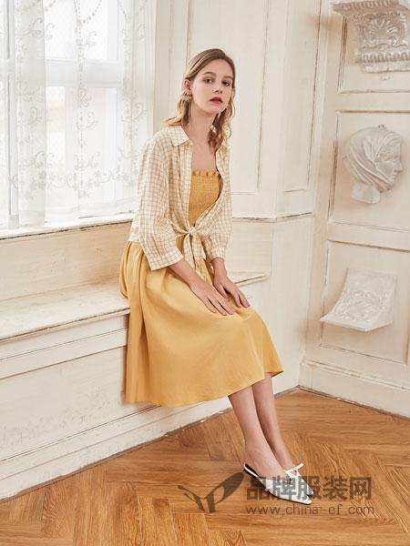 艾丽莎女装品牌2019春夏新品韩版压褶吊带A字中长裙纯色个性坎肩套装