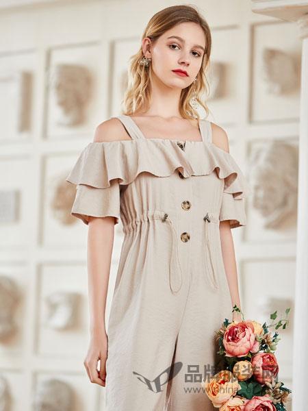 艾丽莎女装品牌2019春夏新款韩版吊带荷叶边露肩连衣阔腿裤