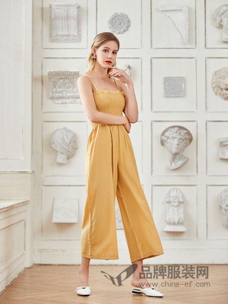 艾丽莎女装品牌2019春夏性感吊带系带阔腿连衣裤