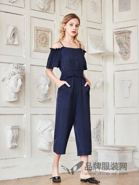 艾丽莎女装品牌2019春夏背带连体阔腿裤宽松显瘦一字领雪纺吊带连体裤