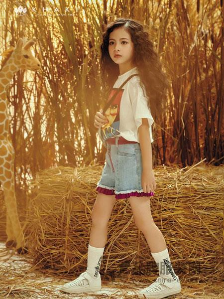 卡琪屋童裝品牌2019春夏新款韓版高腰顯瘦繡花須邊牛仔短褲