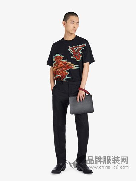 Givenchy纪梵希休闲品牌2019春夏新款黑色拼贴短袖男士T恤