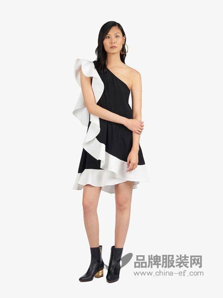Givenchy纪梵希休闲品牌2019春夏新款短款不对称荷叶边连衣裙