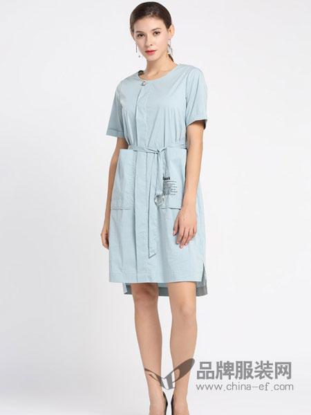 黛绮女装品牌2019春夏新款圆领短袖 双口袋系带收腰 连衣裙