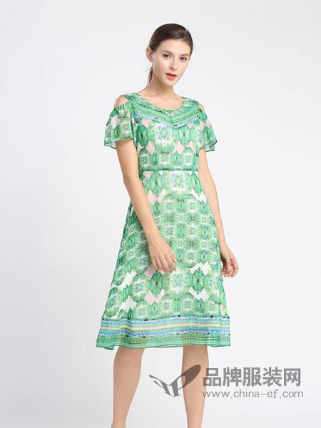 黛绮女装品牌2019春夏新款修身中长款露肩复古印花雪纺裙