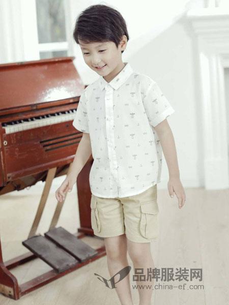 安黎小镇 - A.L.TOWN童装品牌2019春夏新款白色 斑马 亚麻 短袖 休闲 衬衫