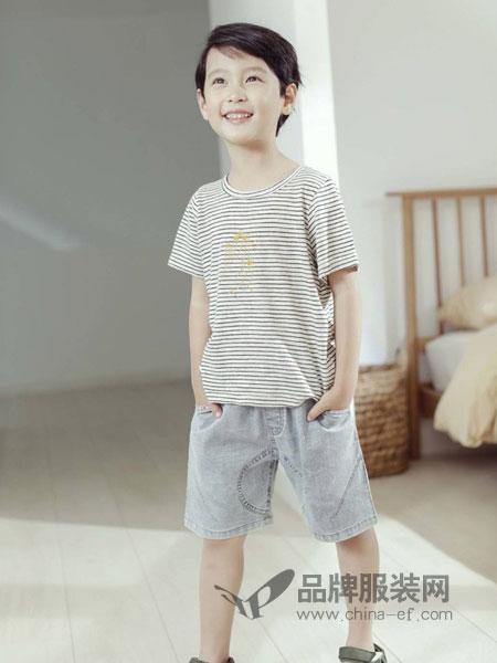 安黎小镇 - A.L.TOWN童装品牌2019春夏新款条纹短袖纯棉t恤