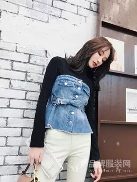 喔巴喔妮女装品牌2019春夏心机小众设计感百搭显瘦牛仔衬衫女韩版系带收腰露肩上衣潮