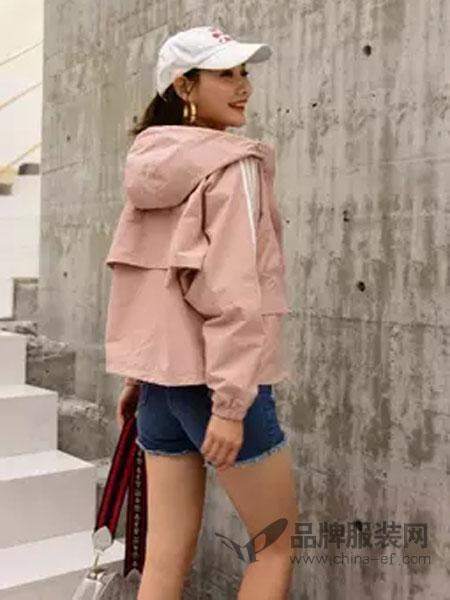 喔巴喔妮女装品牌2019春夏新款潮短款长袖宽松韩版连帽薄外套