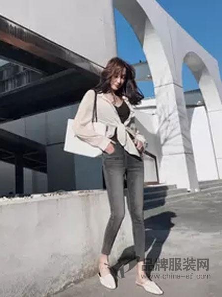 喔巴喔妮女装品牌2019春夏气质衬衫韩版长袖慵懒风设计感小众宽松长袖上衣
