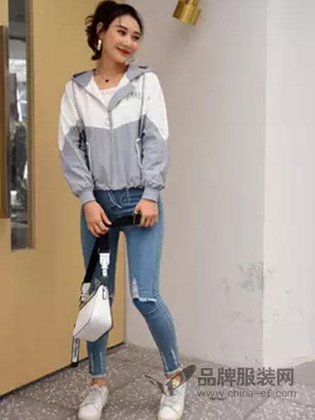 喔巴喔妮女装品牌2019春夏休闲小外套连帽短款夹克新款宽松小个子