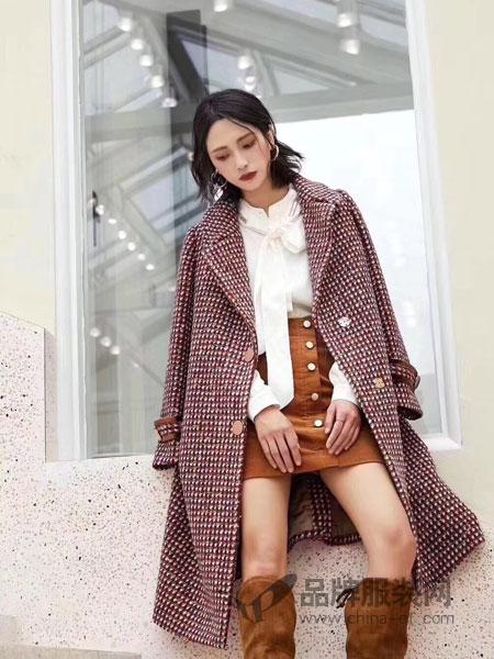 茉拉迪女装品牌新品时尚格子双面呢大衣
