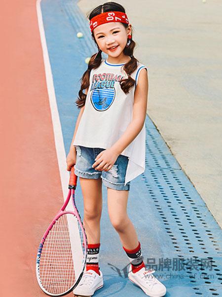 卡儿菲特童装品牌2019春夏新款印花打底衫小女孩儿童无袖上衣