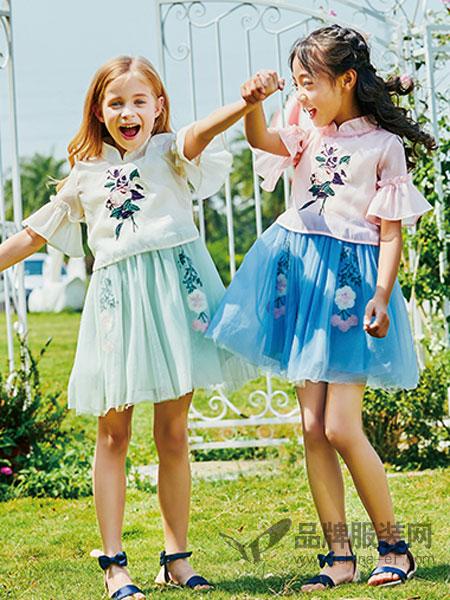 卡儿菲特童装品牌2019春夏新款韩版连衣裙喇叭袖上衣公主套装