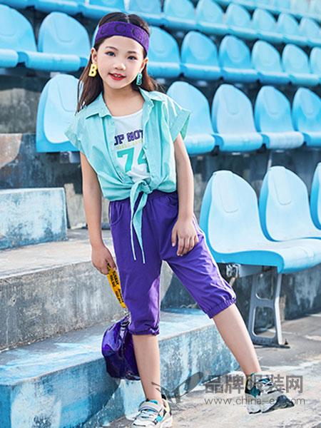 卡儿菲特童装品牌2019春夏新款韩范条纹假两件短袖衬衣
