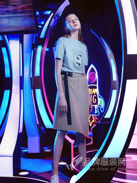UMISKY优美世界女装品牌2019春夏新款韩版包臀裙高腰休闲中长款A字裙