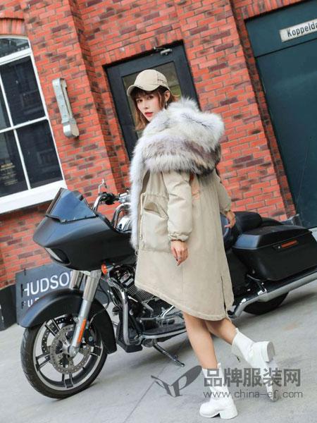 5iF女装品牌新款大毛领羽绒服中长款修身显瘦加厚保暖潮