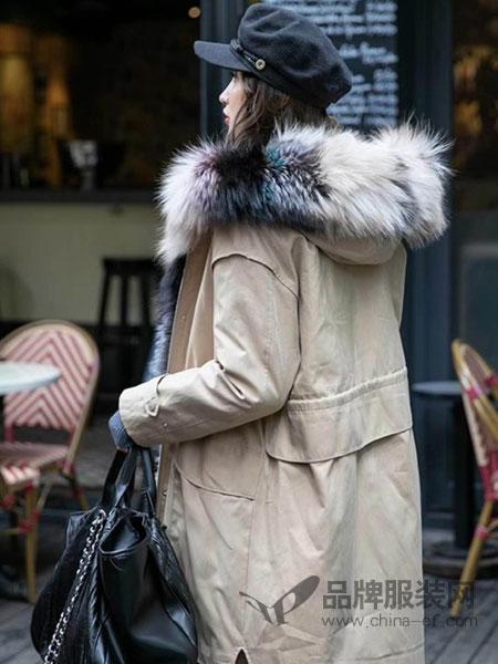 5iF女装品牌新款韩版宽松加厚中长款羽绒服女大毛领外套潮