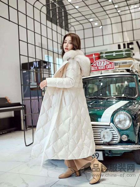5iF女装品牌新款韩版收腰超大毛领羽绒服女中长款过膝宽松加厚外套潮
