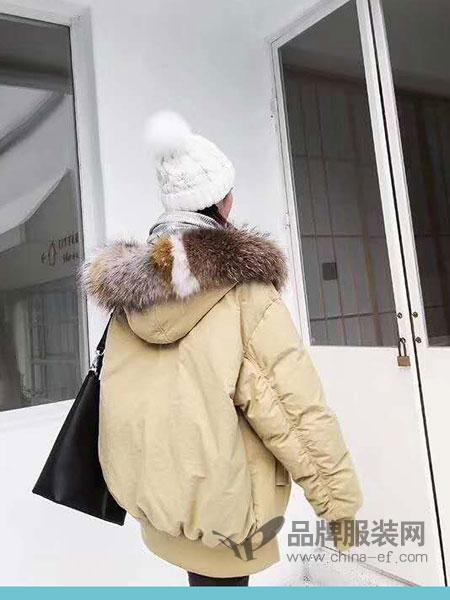 5iF女装品牌新款韩版潮宽松显瘦时尚大毛领外套