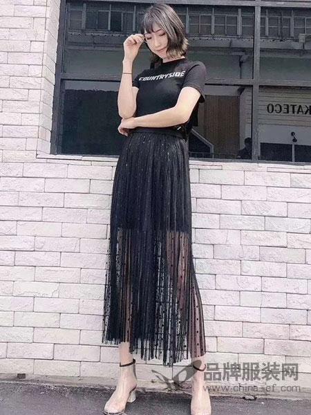 东哲女装品牌2019春季新款波点透纱经典百搭半身裙