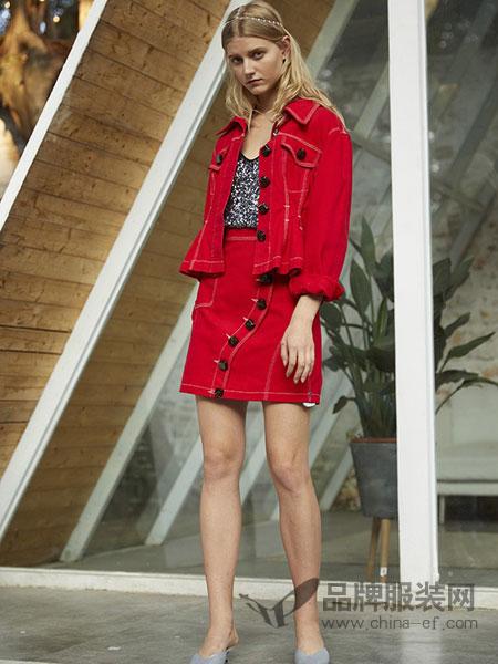 东哲女装品牌2019春季新款修身长袖时尚欧美复古牛仔短款外套