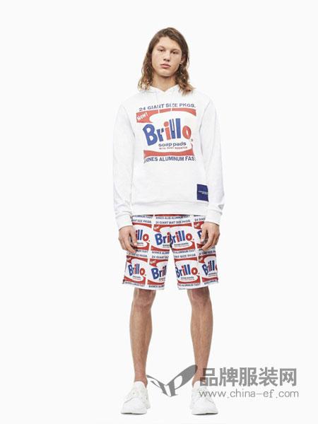 Calvin Klein休闲品牌2019春夏新款连帽套头运动卫衣