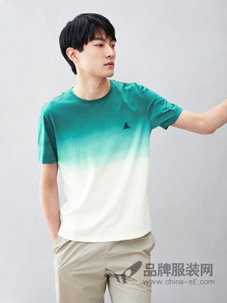 海澜之家男装品牌2019春夏新款圆领时尚渐变短袖T恤