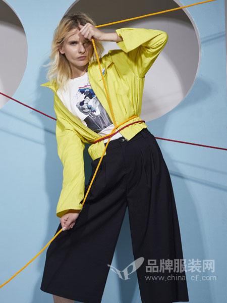 BELLO SZ 淿素女装品牌彩38平台2019春夏新款腰带宽松褶皱纯色阔腿裤