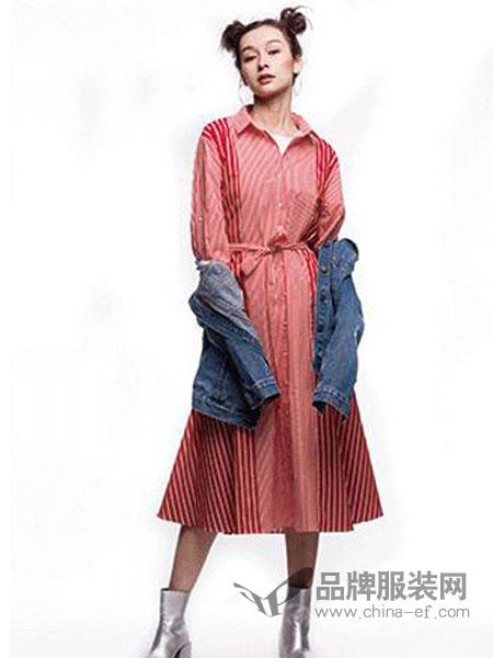 其余女装品牌2019春季新款条纹收腰衬衫单排扣不规则裙摆