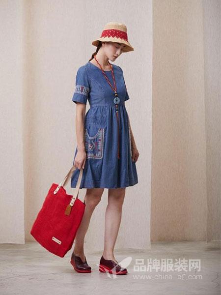 一城画一女装品牌2019春夏时尚蕾丝花边棉麻连衣裙 短袖圆领宽松短裙