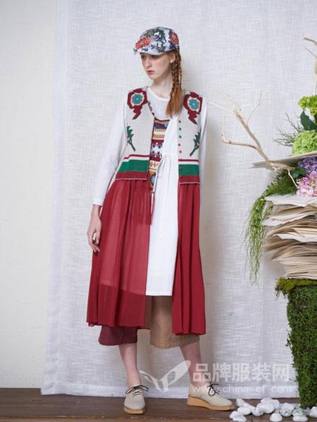 一城画一女装品牌2019春夏原创设计拼接针织背心连衣裙女百搭收腰长裙