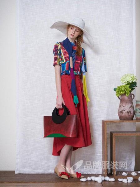 一城画一女装品牌2019春夏复古文艺拼接上衣+阔腿长裤两件套