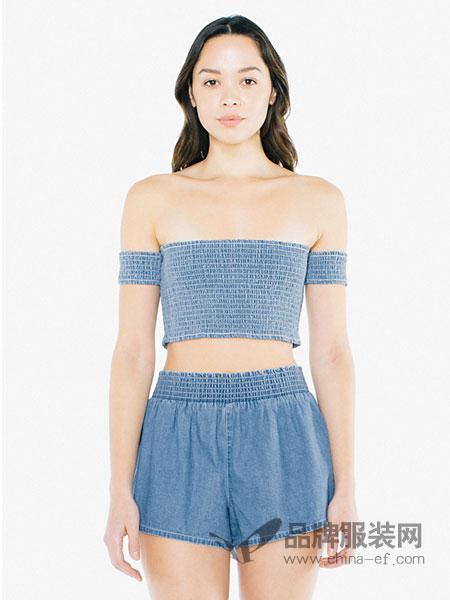 American Apparel休闲品牌2019春季一字肩抹胸短款上衣T恤