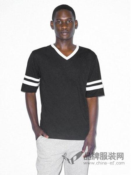 American Apparel休闲品牌2019春季新款柔软舒适运动V领休闲短袖T恤